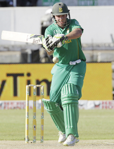 South Africa's AB De Villiers plays a shot during the one day international cricket match against India at Kingsmead Stadium in Durban