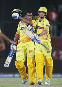 MS Dhoni and Albie Morkel