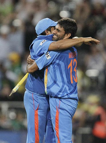 India's Suresh Raina and Munaf Patel (right) celebrate after defeating South Africa on Saturday