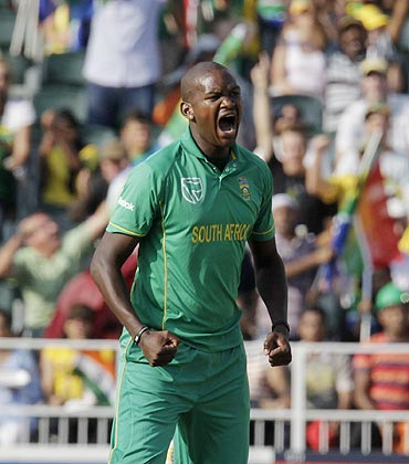 South Africa's Lonwabo Tsotsobe celebrates after dismissing India's Yuvraj Singh