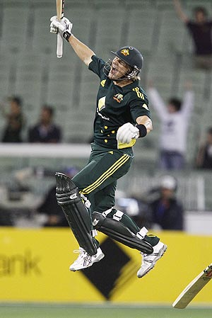 Shane Watson celebrates after Australia defeated England at the Melbourne Cricket Ground on Sunday
