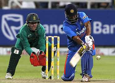 Yusuf Pathan plays a shot during the third ODI against South Africa in Cape Town