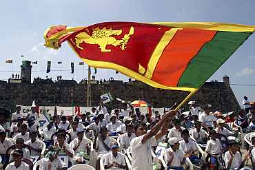 Sri Lankan children during a Test match in Galle