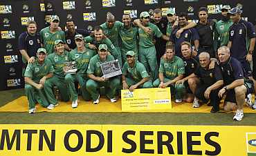 South African team celebrates after winning the One-day series