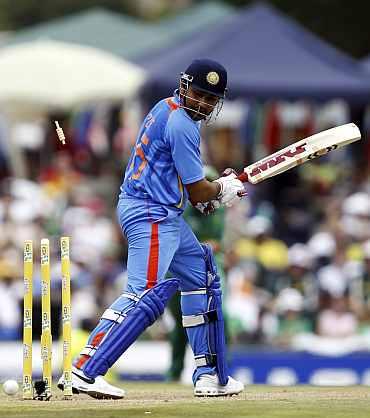 Rohit Sharma is clean bowled by Lonwabo Tsotsobe