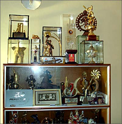 Dhoni's trophies have a special place in their home