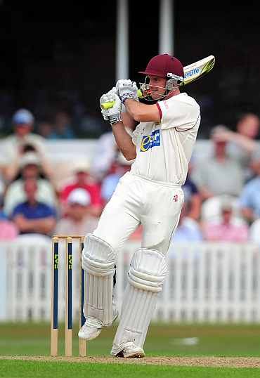 Somerset batsman Andrew Strauss pulls during day one of the tour match between Somerset and India