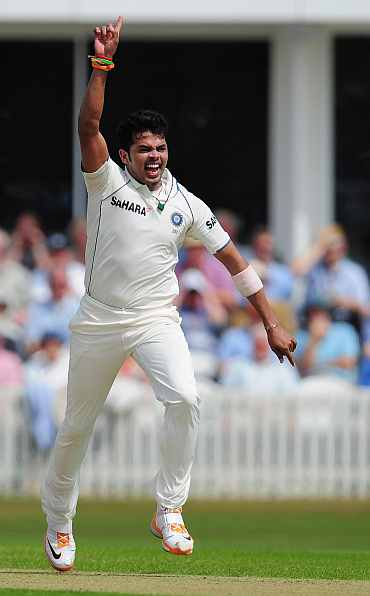 S Sreesanth appeals in vain for a wicket during day one of the tour match between Somerset and India