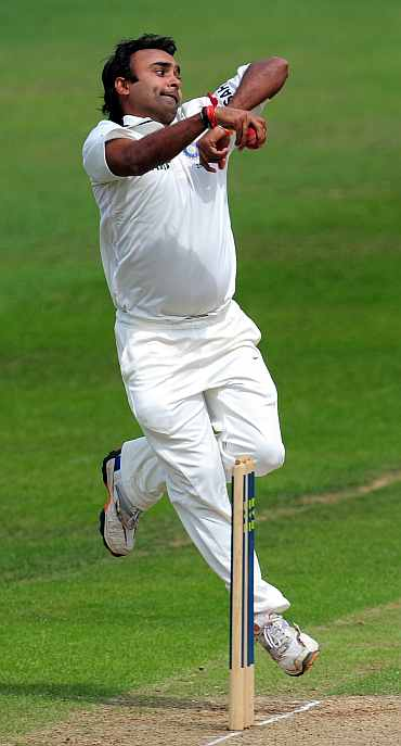 Amit Mishra bowls during his practice match against Somerset