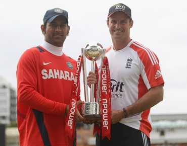 M S Dhoni and Andrew Strauss pose with the npower Test series trophy ahead of the first Test at Lord's on Wednesday