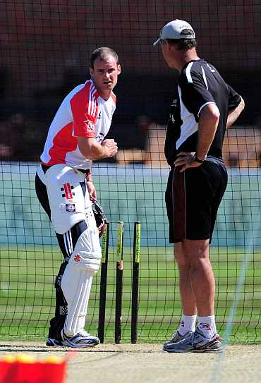 Andrew Strauss during a practice session