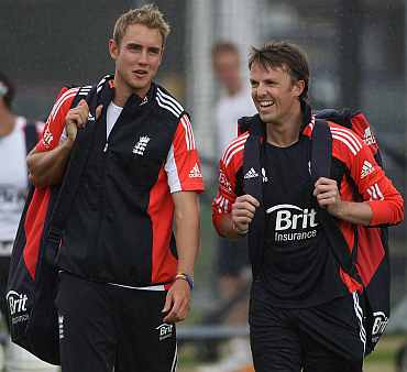 Graeme Swann and Stuart Broad during a practice session in Lord's