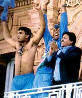 Sourav Ganguly on the Lord's balcony
