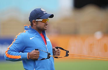 Suresh Raina at a training session