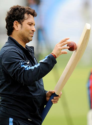 Sachin Tendulkar is all focus at a training session