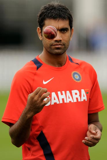 India's Munaf Patel during a training session