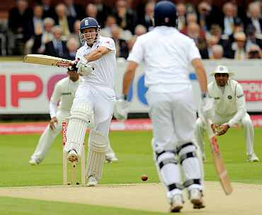 Andrew Strauss pulls during his knock against India