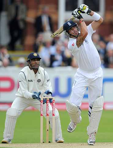 Kevin Pietersen hits a boundary during his knock against India