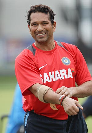 Sachin Tendulkar at a nets session in London on Wednesday