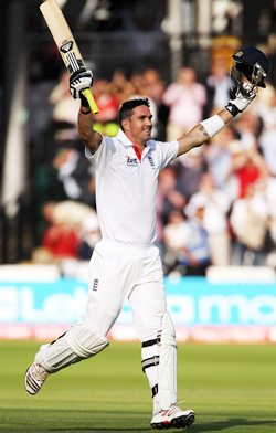 Kevin Pietersen celebrates after scoring 200