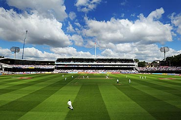 Blue skies over Lord's at the start of play on Day 2