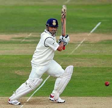 Sachin Tendulkar plays a shot during his knock against England