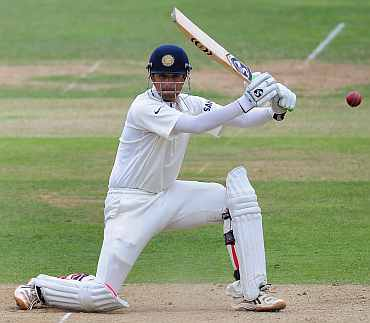 Rahul Dravid plays a square cut during his knock against England
