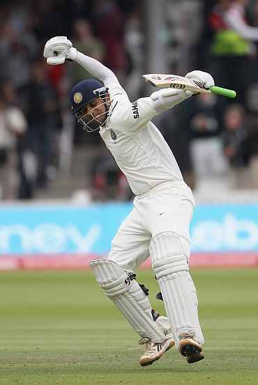 Rahul Dravid celebrates after completing his century at Lord's