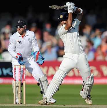Rahul Dravid hits a boundary off Graeme Swann