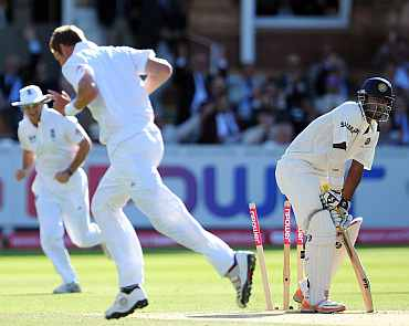 Abhinav Mukund reacts after he is clean bowled by Stuart Broad