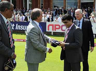 Sourav Ganguly and Bob Willis receive caps from ECB Chairman Giles Clarke
