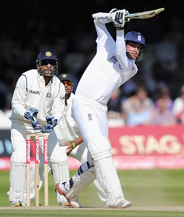 Stuart Broad of England bats during day four