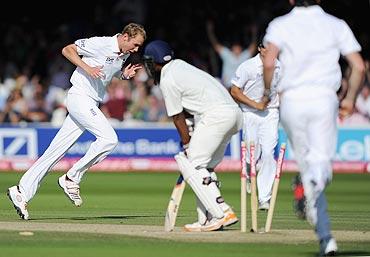 Stuart Broad celebrates bowling Abhinav Mukund