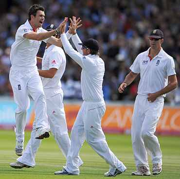 James Anderson celebrates after picking up Sachin Tendulkar's wicket