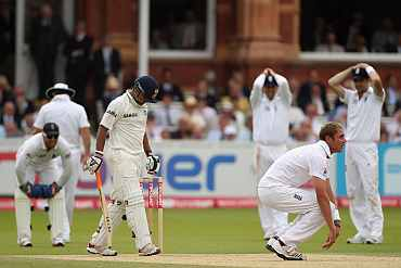 Stuart Broad reacts after his appeal was turned down