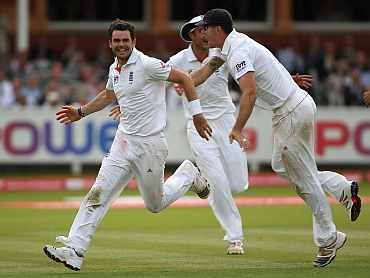 James Anderson celebrates after his five-wicket haul in the Lord's Test