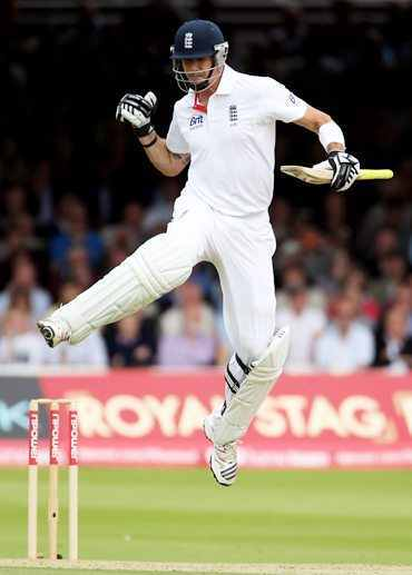 Kevin Pietersen celebrates after scoring the century