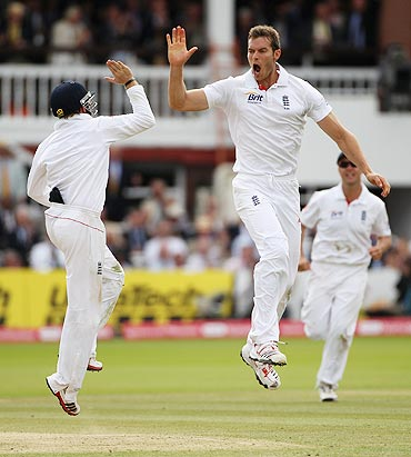 An airborne Chris Tremlett celebrates yet another wicket