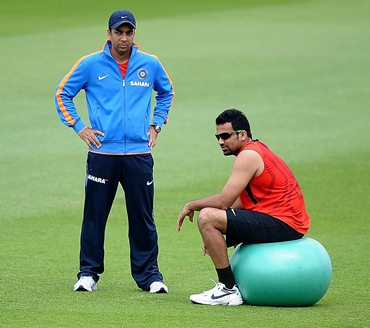 Zaheer Khan relaxes after being put through a fitness Test at Trent Bridge on Thursday
