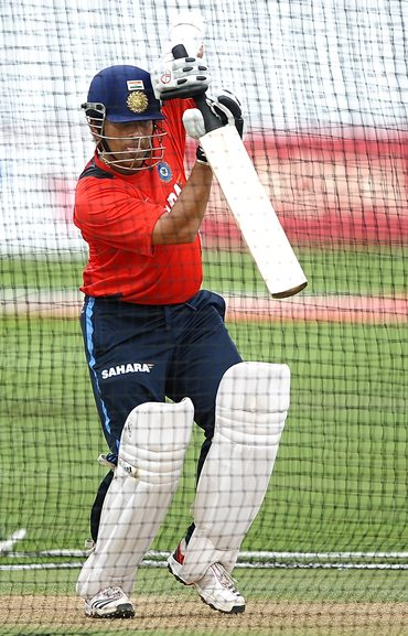 Sachin Tendulkar in the nets at Trent Bridge on Thursday
