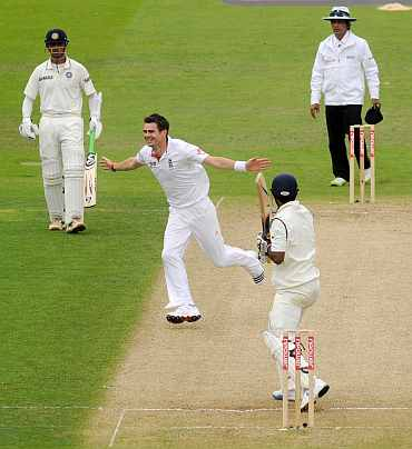 James Anderson celebrates after picking the wicket of Abhinav Mukund