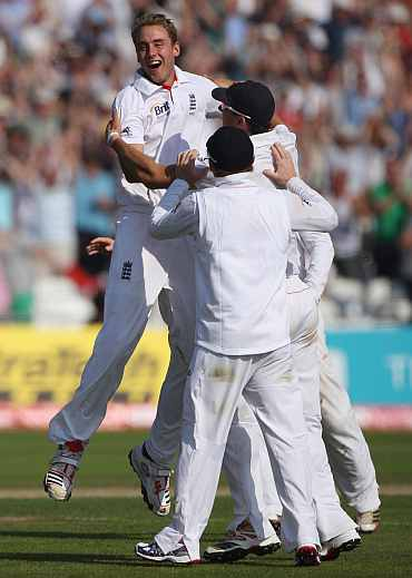 Stuart Broad celebrates after completing his hat-trick