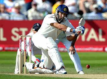 Yuvraj Singh plays a shot during his match against England