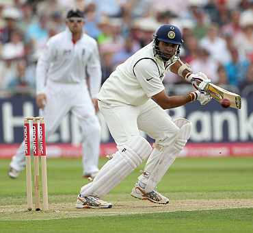 VVS Laxman plays a shot during the second Test match at Trent Bridge