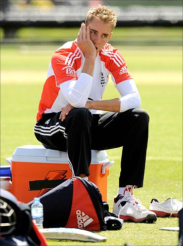 England's Stuart Broad looks on during a training session