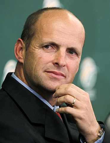 South African cricket coach Gary Kirsten gestures during a news conference in Johannesburg