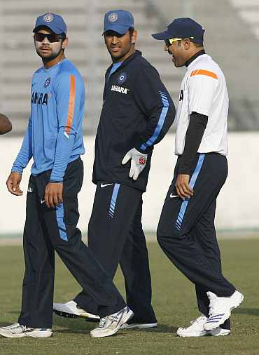 Virat Kohli, MS Dhoni and Virender Sehwag