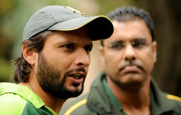 Afridi with coach Waqar Younis