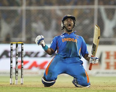 Yuvraj celebrates after hitting the winning runs against Australia in the World Cup quarter-final