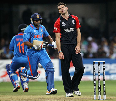 James Anderson of England shows his frustration as a run is taken from his bowling